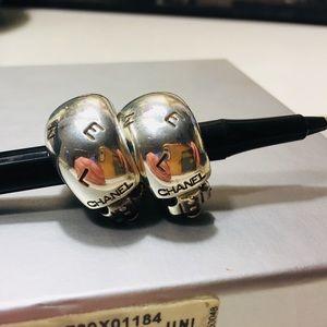 Authentic CHANEL 925 Sterling Silver Hoop Earrings